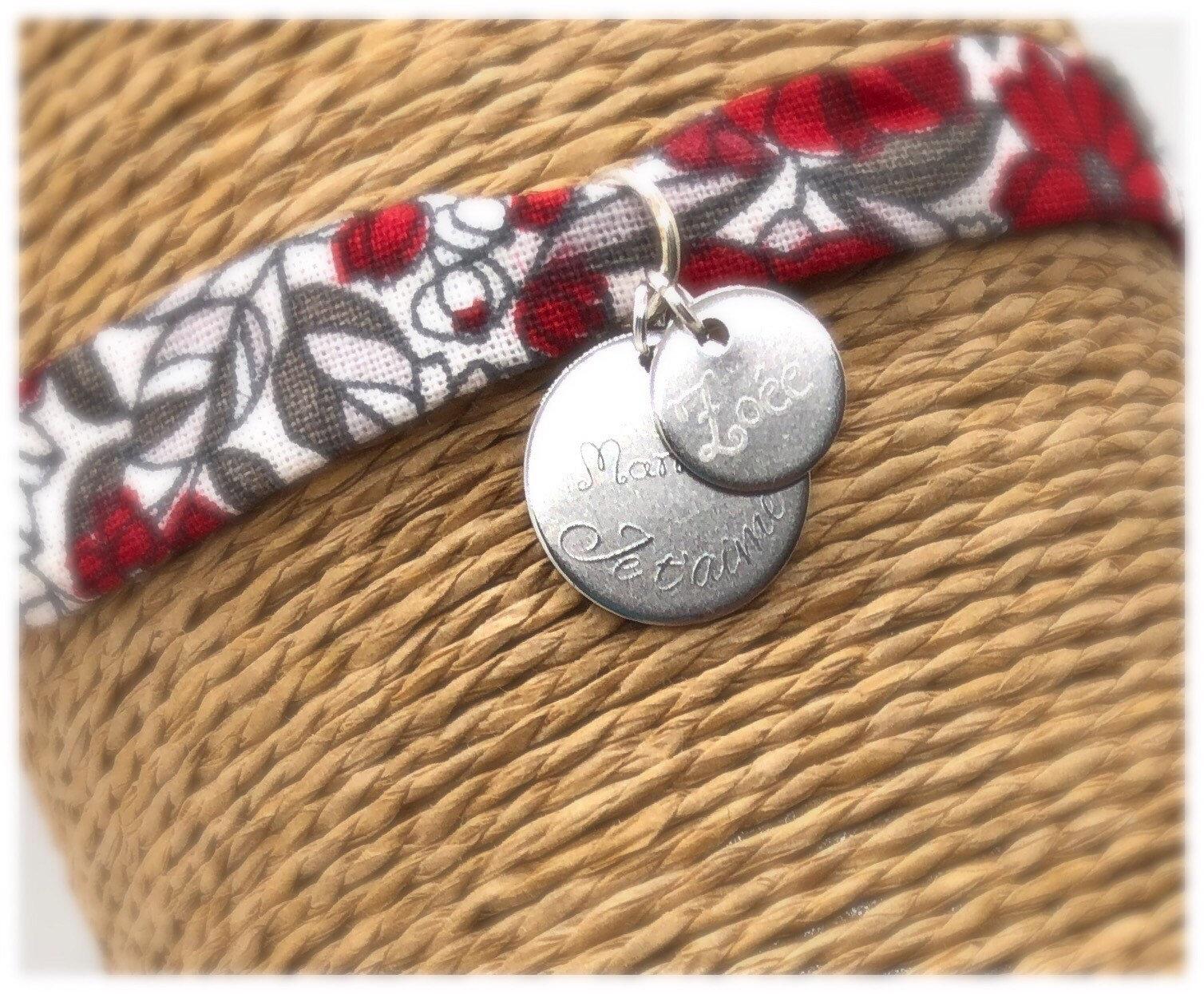 Bracelet personnalisable, une ou 3 médailles , bracelet gravé, bracelet tissu