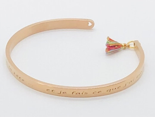 Bracelet jonc Or Rose Personnalisable