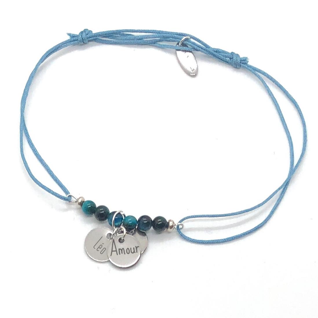 Bracelet gravé en pierres naturelles
