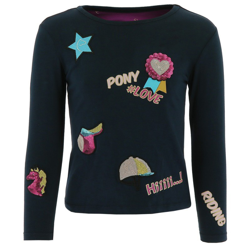 Tee shirt fille EQUI-KIDS Pony Love à badges