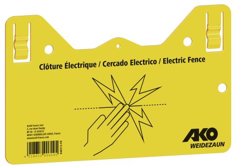 Plaquette de signalisation clôture électrique
