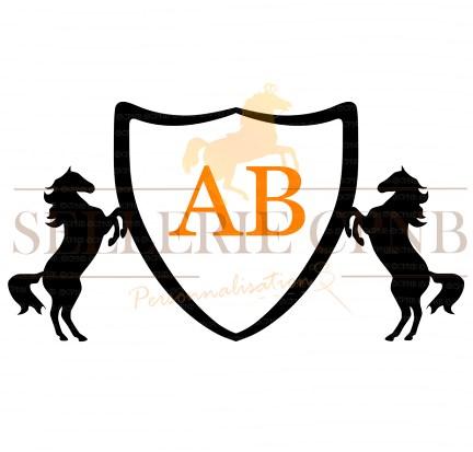Sticker Blason chevaux 2 initiales