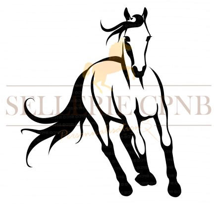 Sticker cheval au galop face