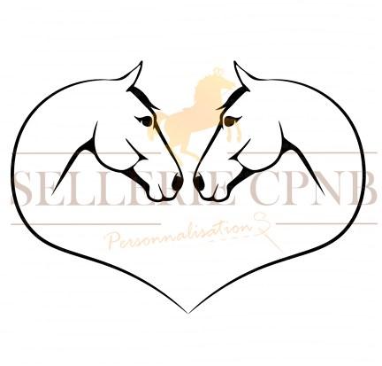 Sticker Chevaux Tetes coeur