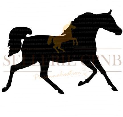 Sticker Cheval Arabe au trot