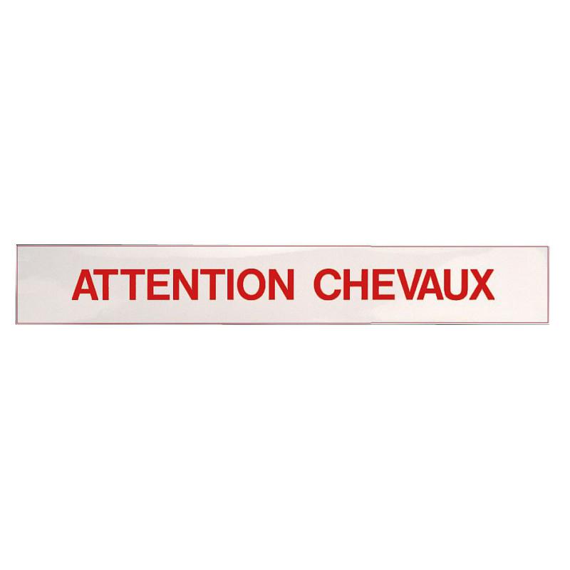 Panneau autocollant Attention Chevaux