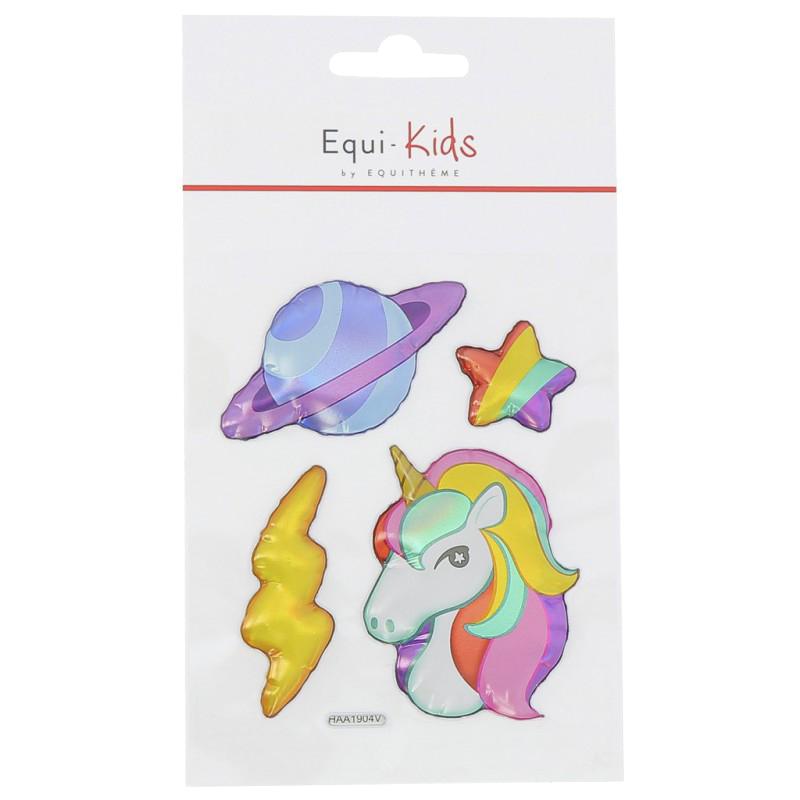 Stickers Equi-Kids Relief Licorne Planète x5