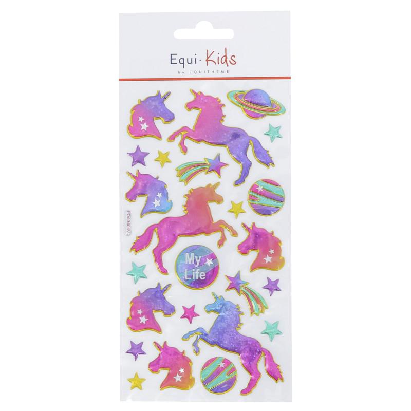 Stickers Equi-Kids Relief Licorne My life x5