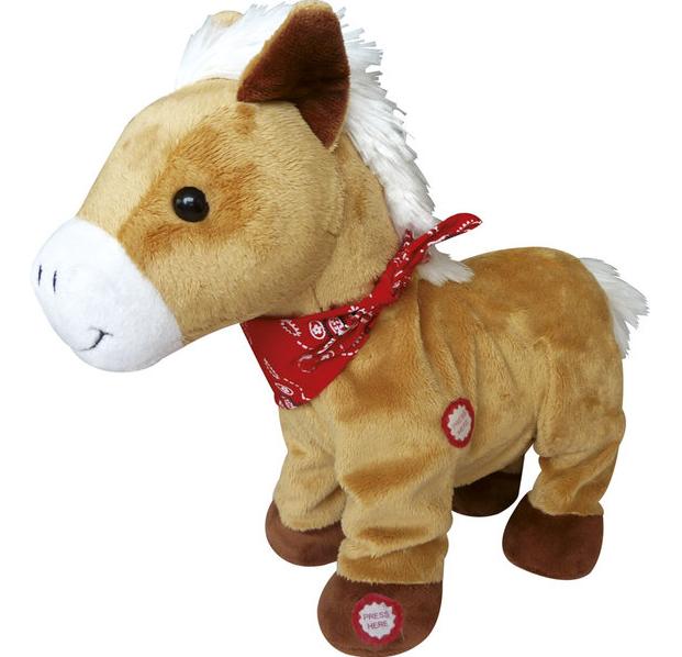 Peluche poney marchant et hennissant