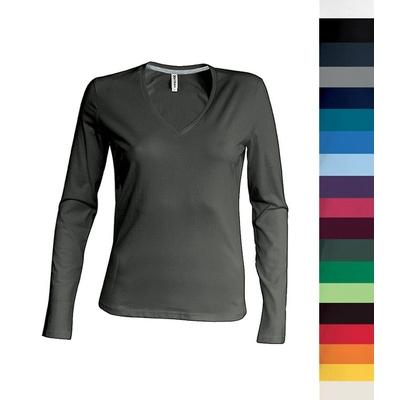 Tee-shirt à manches longues Col V Femme