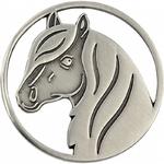 Porte-clés jeton Fer à cheval avec tête de cheval3