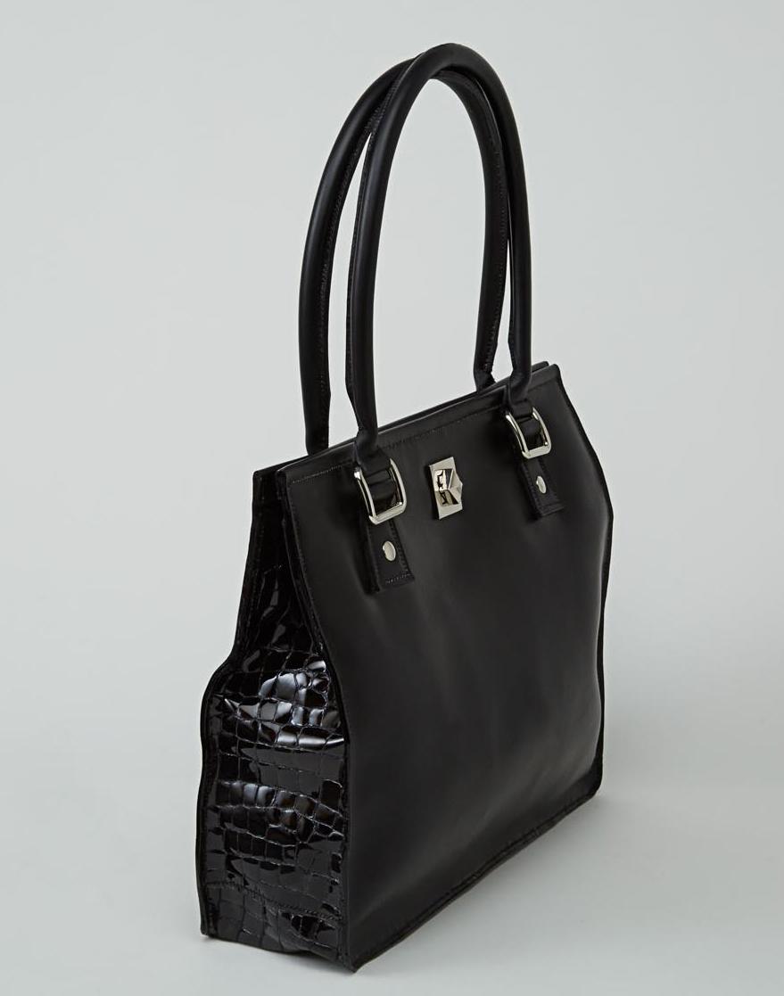 MELUNGTSE sac en cuir de veau box noir et cuir façon croco noir nacré porté main ou épaule