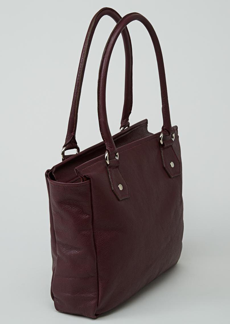 CHO OYU sac en cuir de veau foulonné grenat porté main ou épaule
