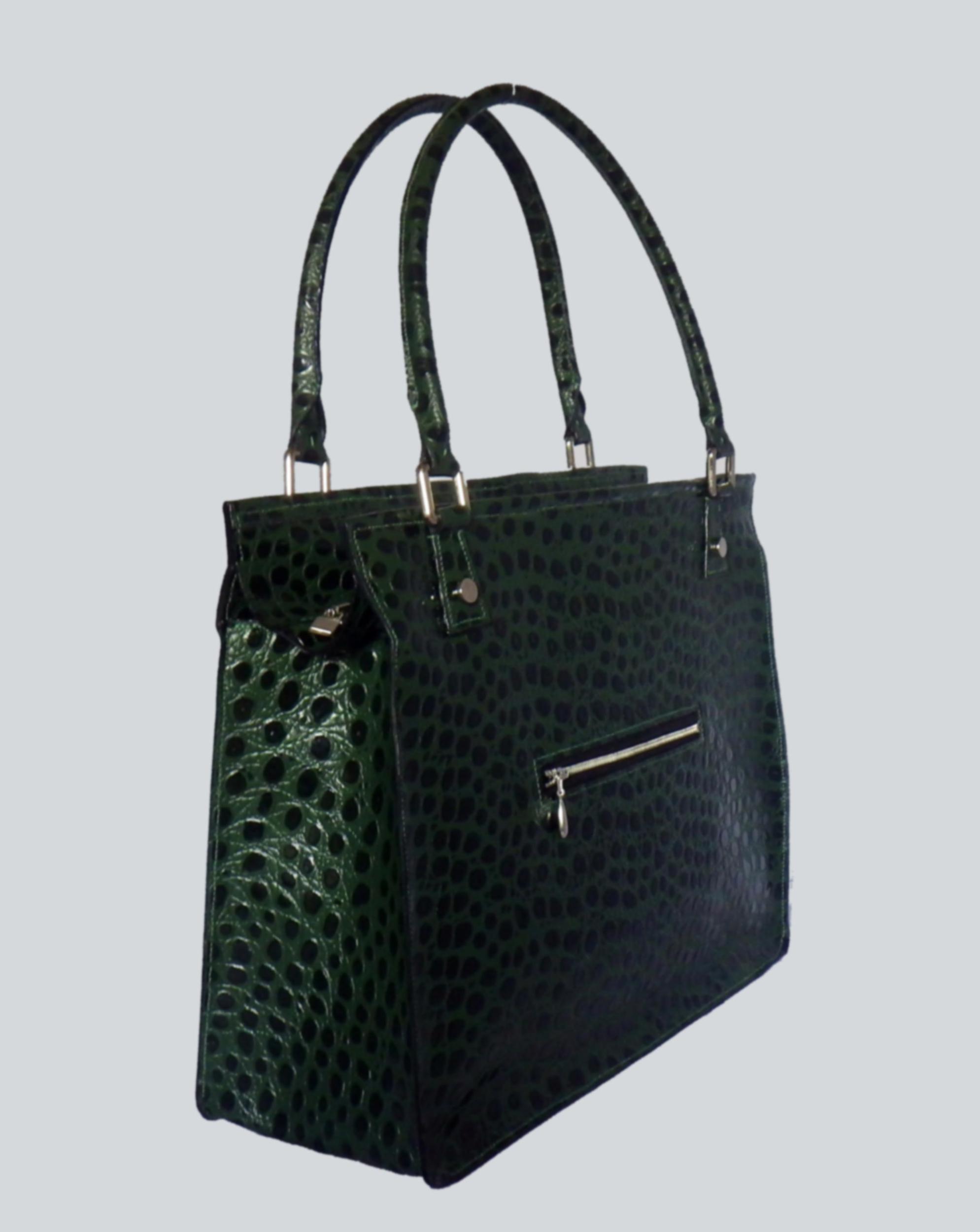 CHOLATSE sac en cuir de vachette façon croco vert olive porté main ou épaule