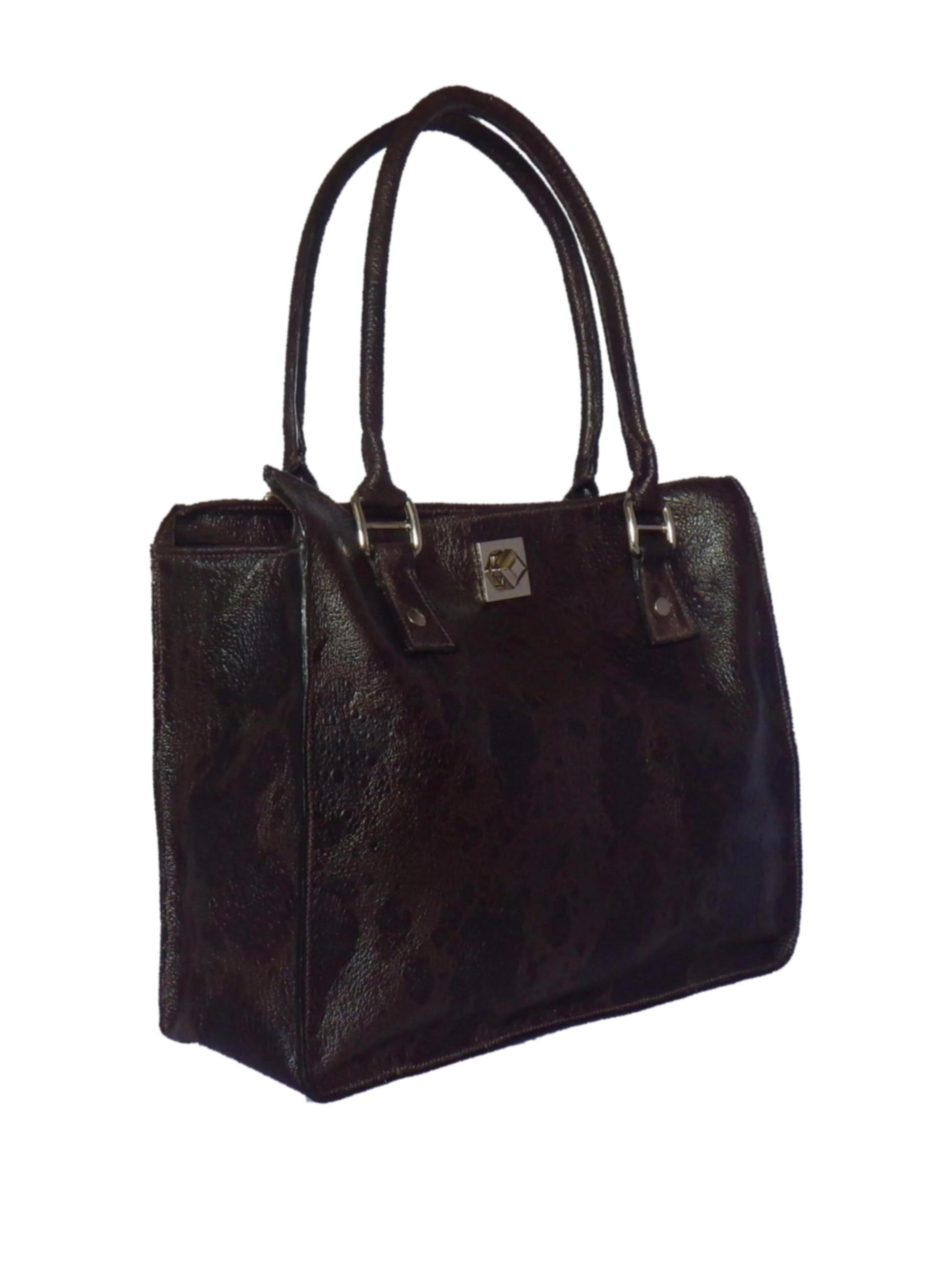 MELUNGTSE sac en cuir de chèvre façon crapaud marron glacé porté main ou épaule