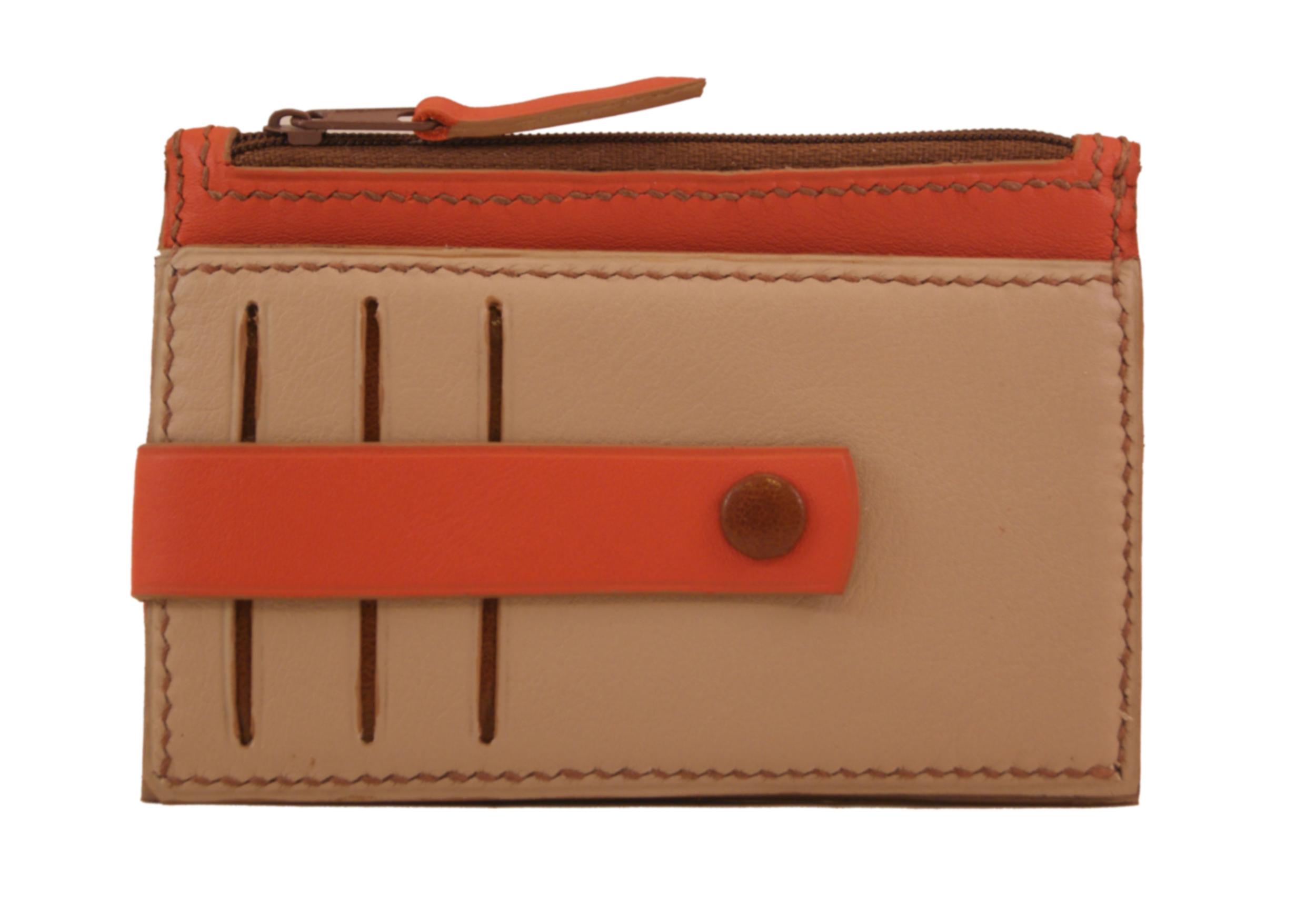 TRIPURA porte monnaie - cartes en cuir de veau lisse bicolore