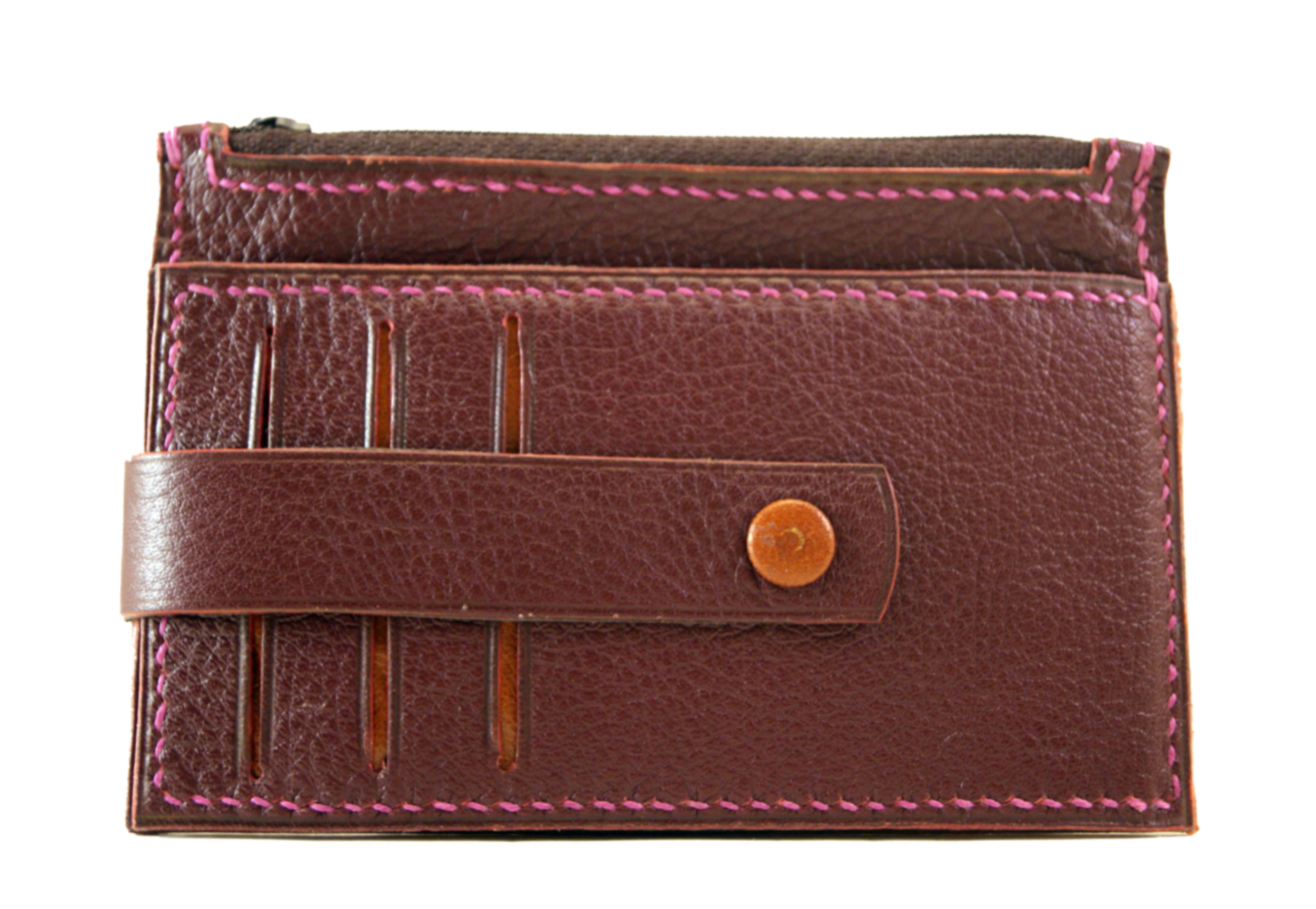 TRIPURA porte monnaie - cartes   en cuir de veau foulonné grenat