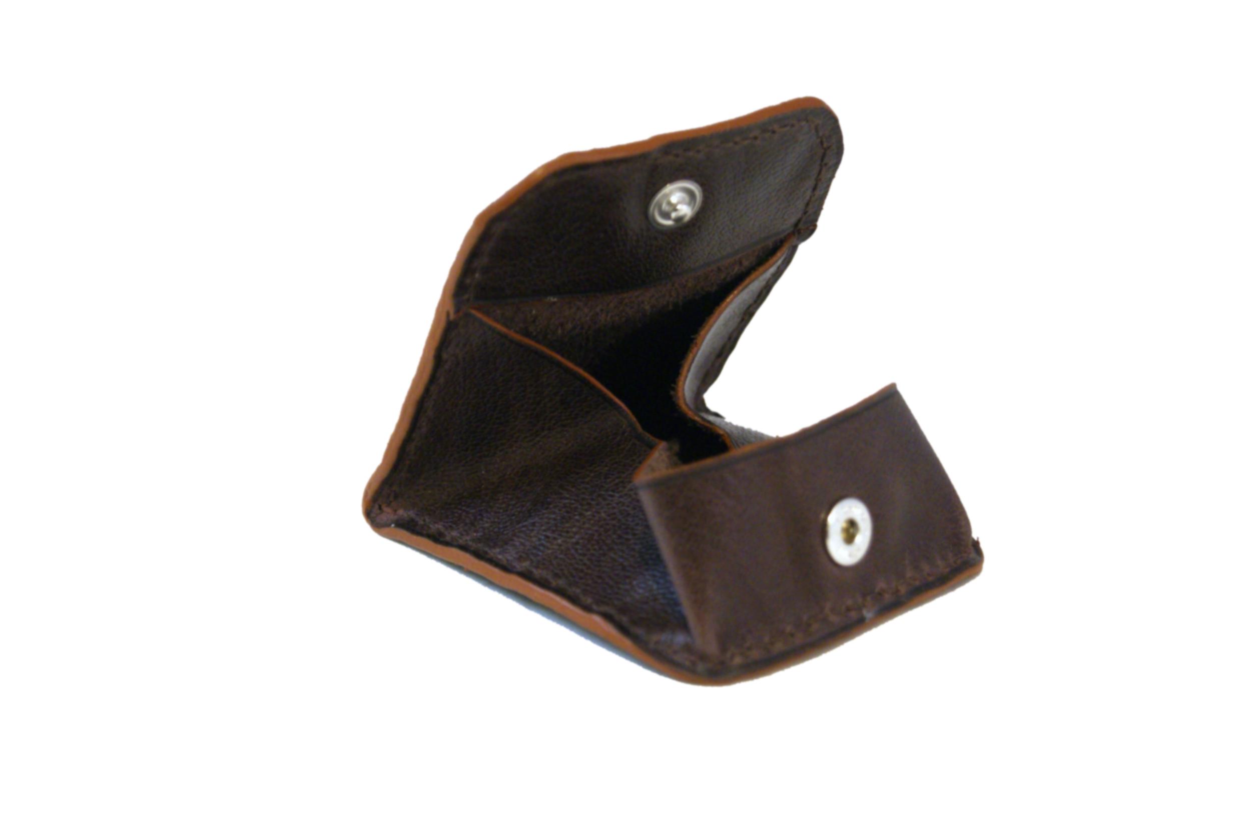 AGARTALA mini porte-monnaie en cuir de veau brun