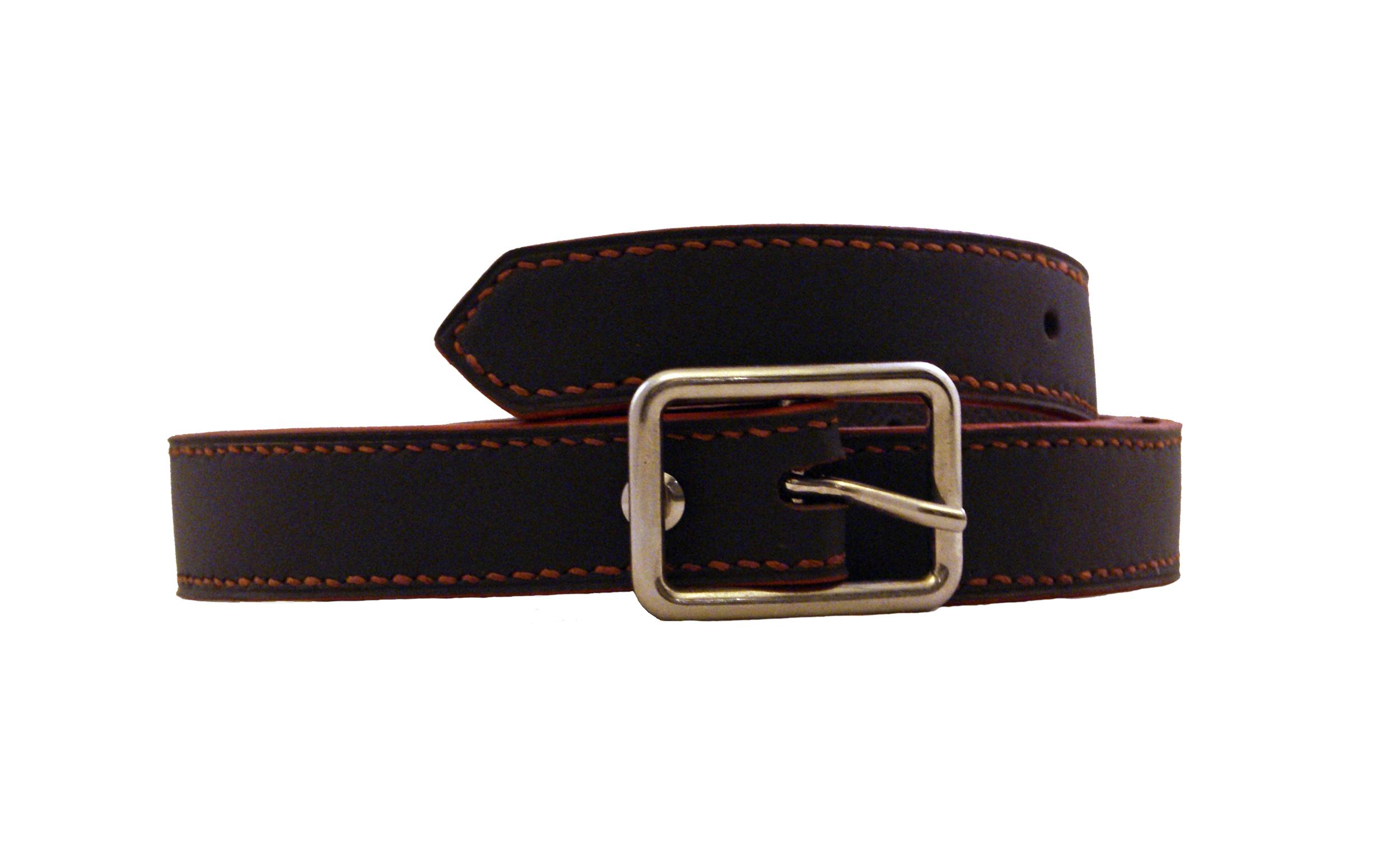 SHILLONG ceinture réversible en cuir de veau lisse et grainé chocolat