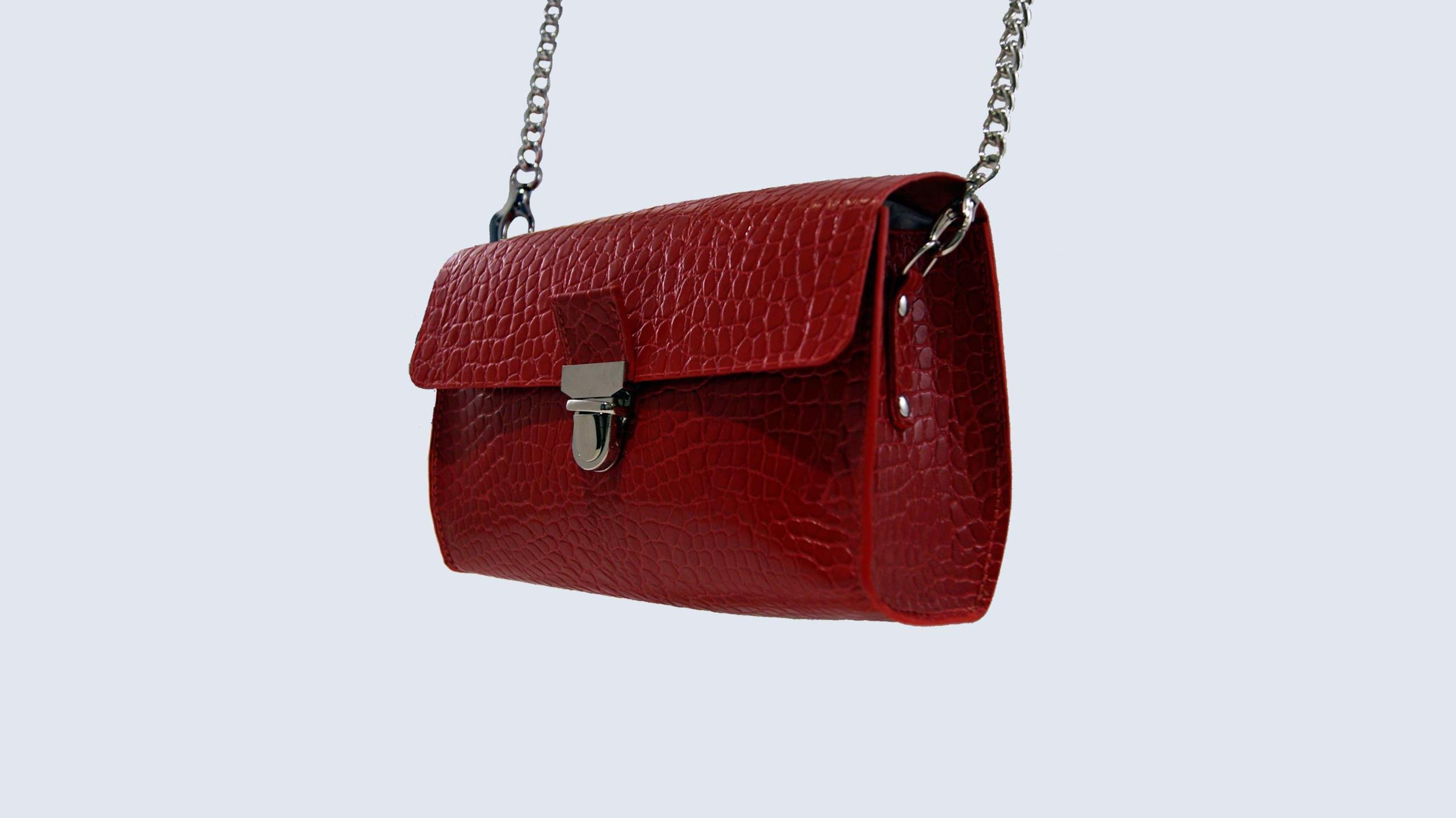 JAÏPUR sac porté épaule ou croisé en cuir de veau façon croco rouge vernis