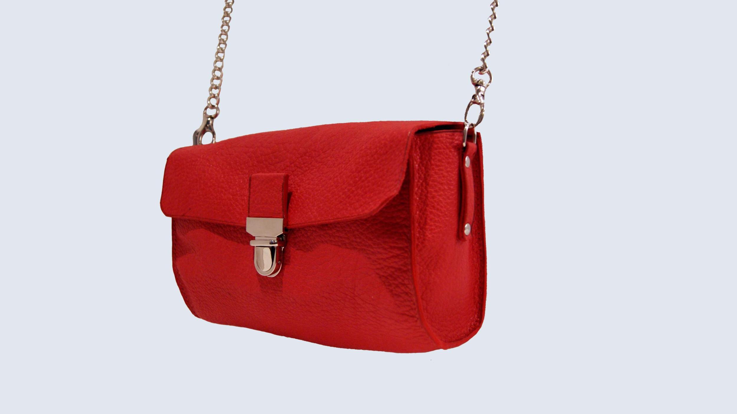 JAÏPUR, sac porté épaule ou croisé en cuir de veau grainé rouge