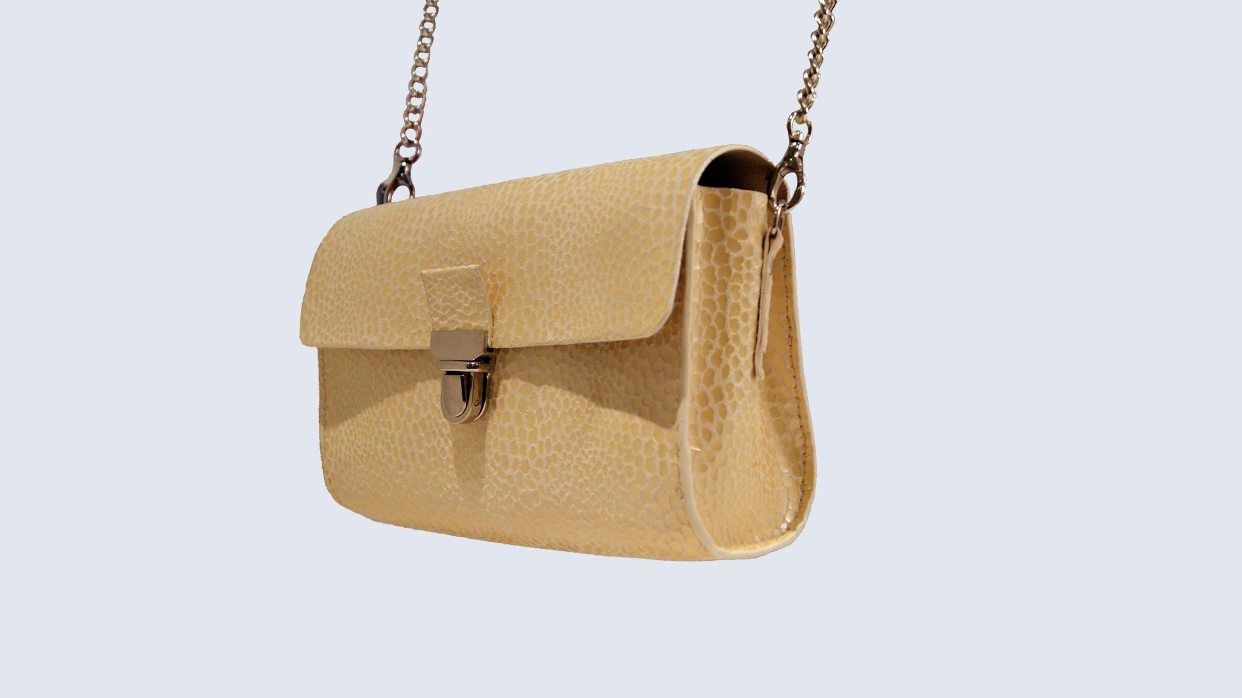 JAÏPUR sac porté épaule ou croisé en cuir de veau bulle de champagne