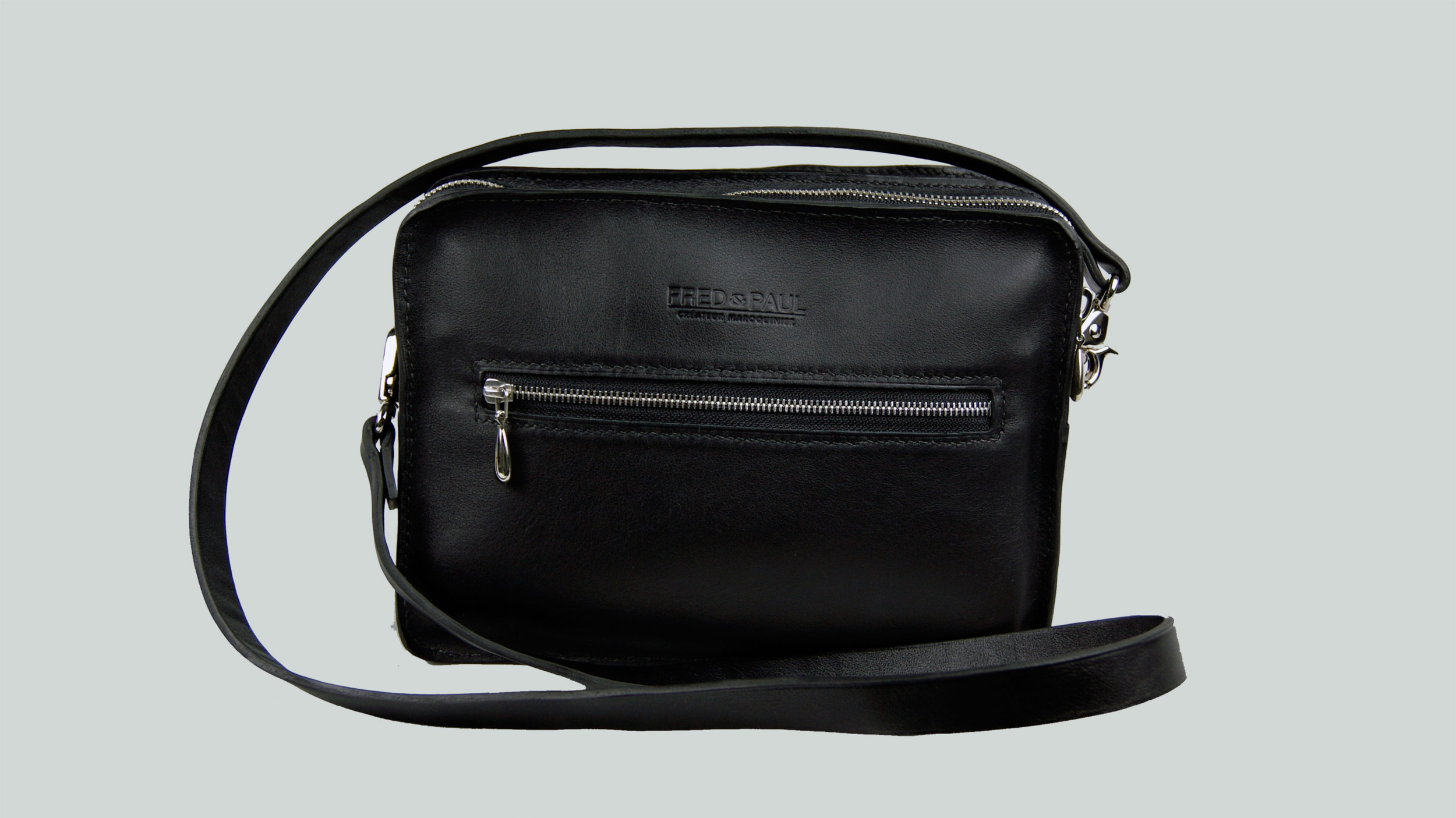 MALACCA sac porté épaule ou croisé en cuir de veau noir