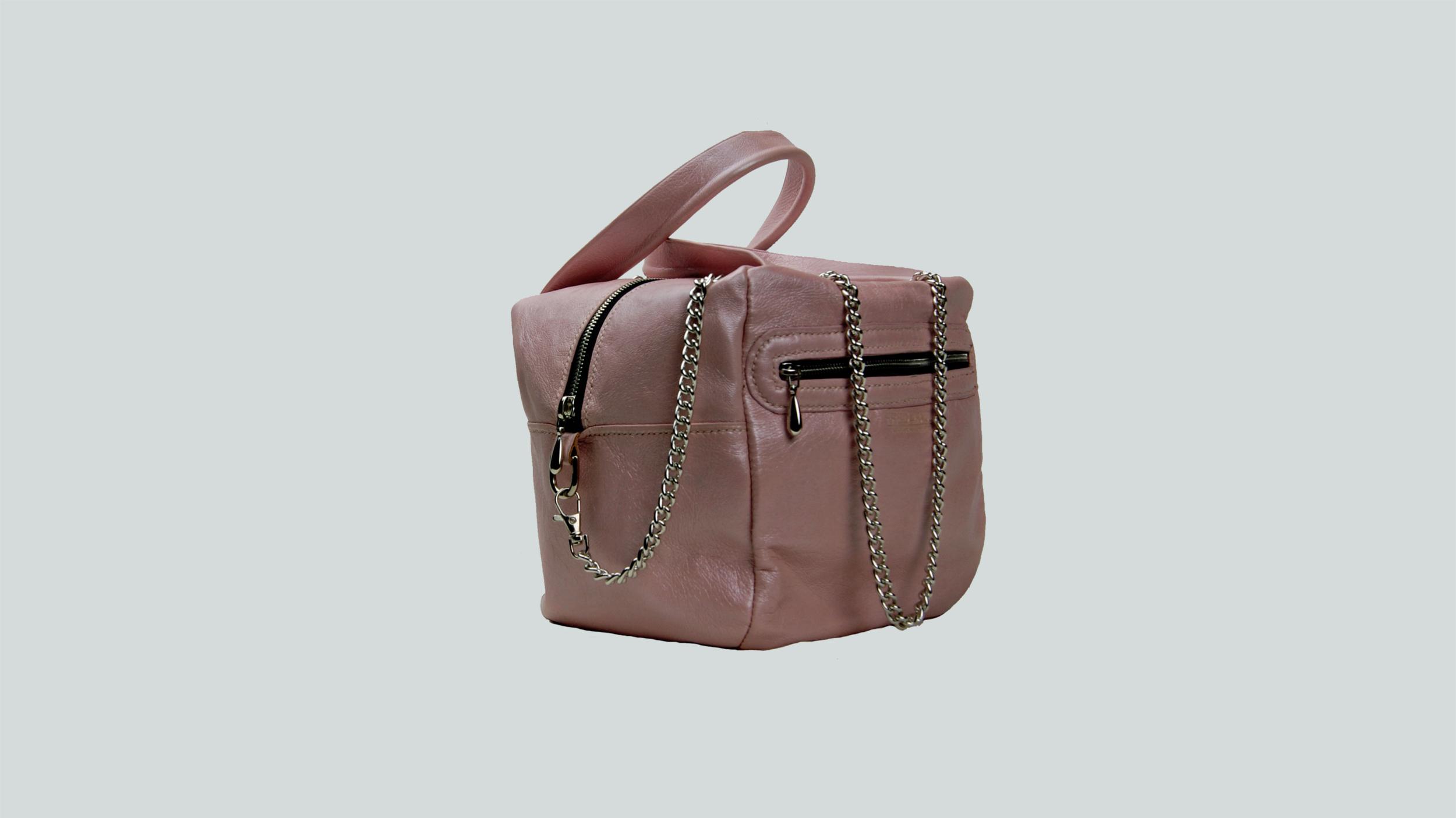 ODISHA, sac porté main ou croisé en cuir de veau rose