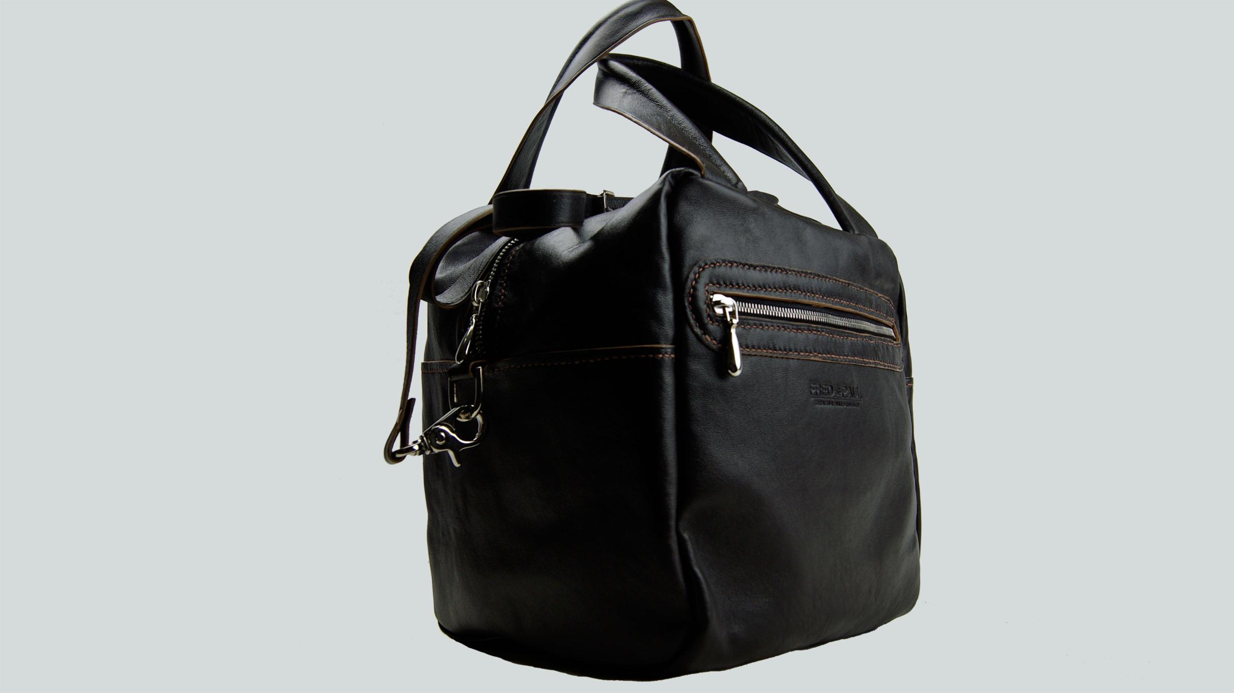 ODISHA, sac porté main ou croisé en cuir de veau marron