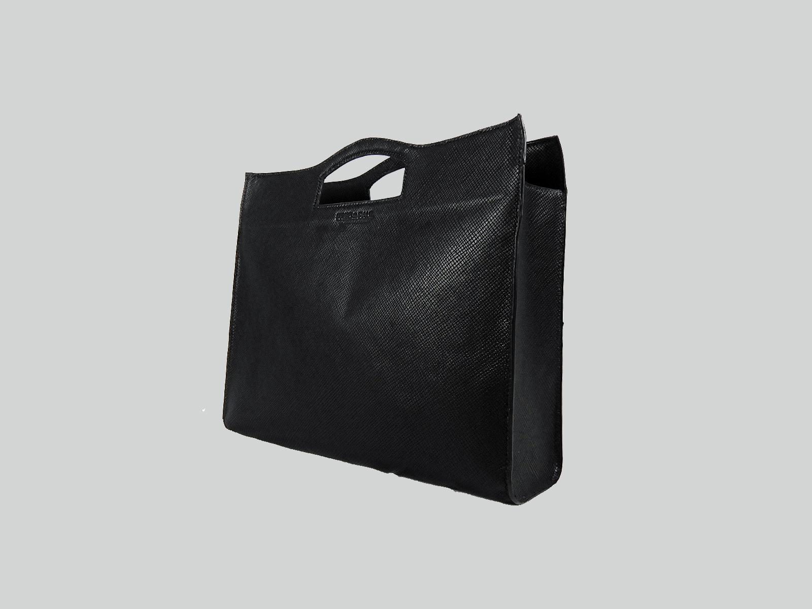 MAKALU sac cabas en cuir de veau façon reptile noir, porté main