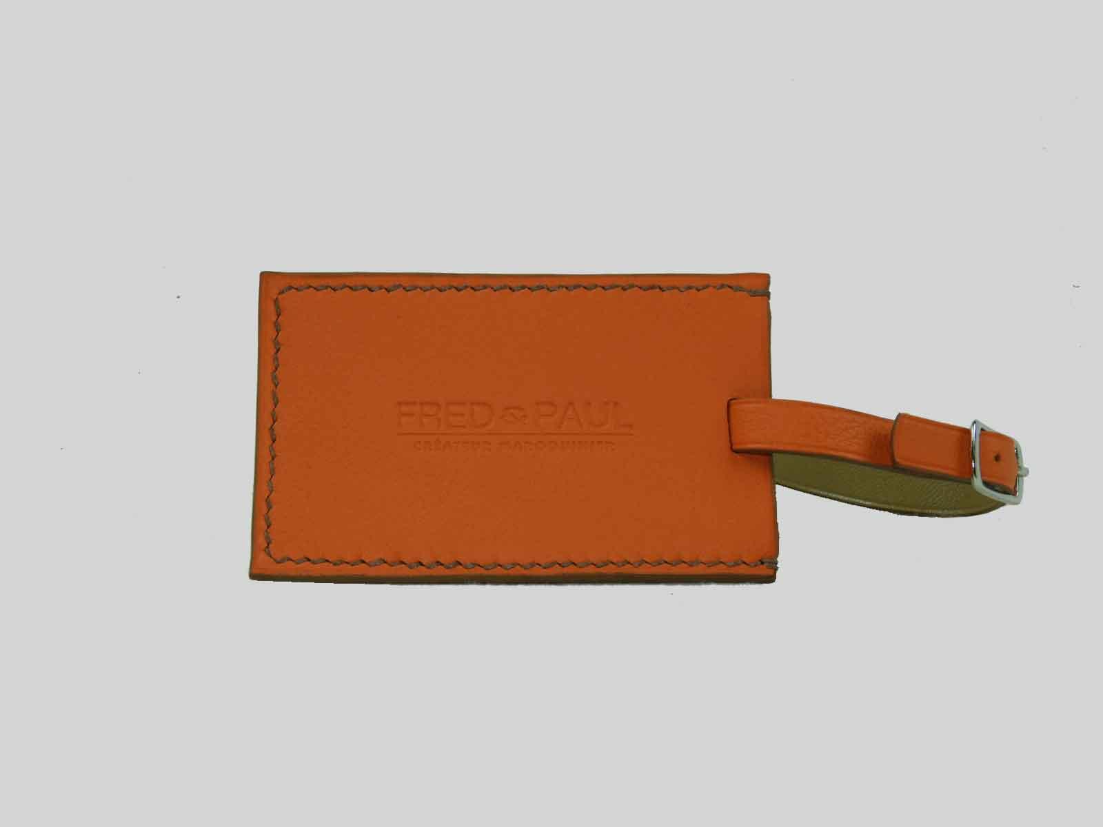 Porte étiquette de bagage en cuir de veau orange