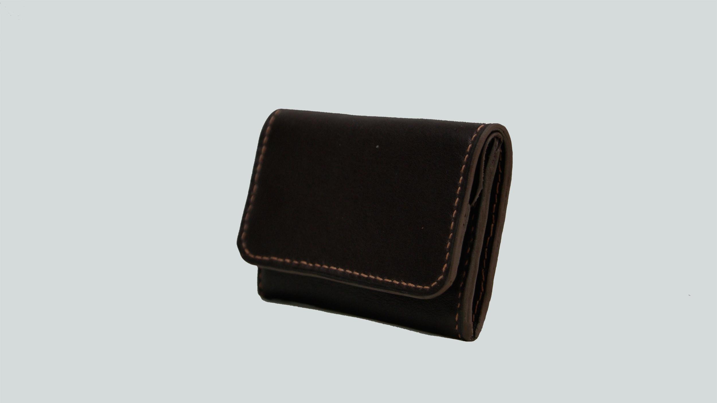 KULA KANGRI, porte monnaie en cuir de veau marron sweet
