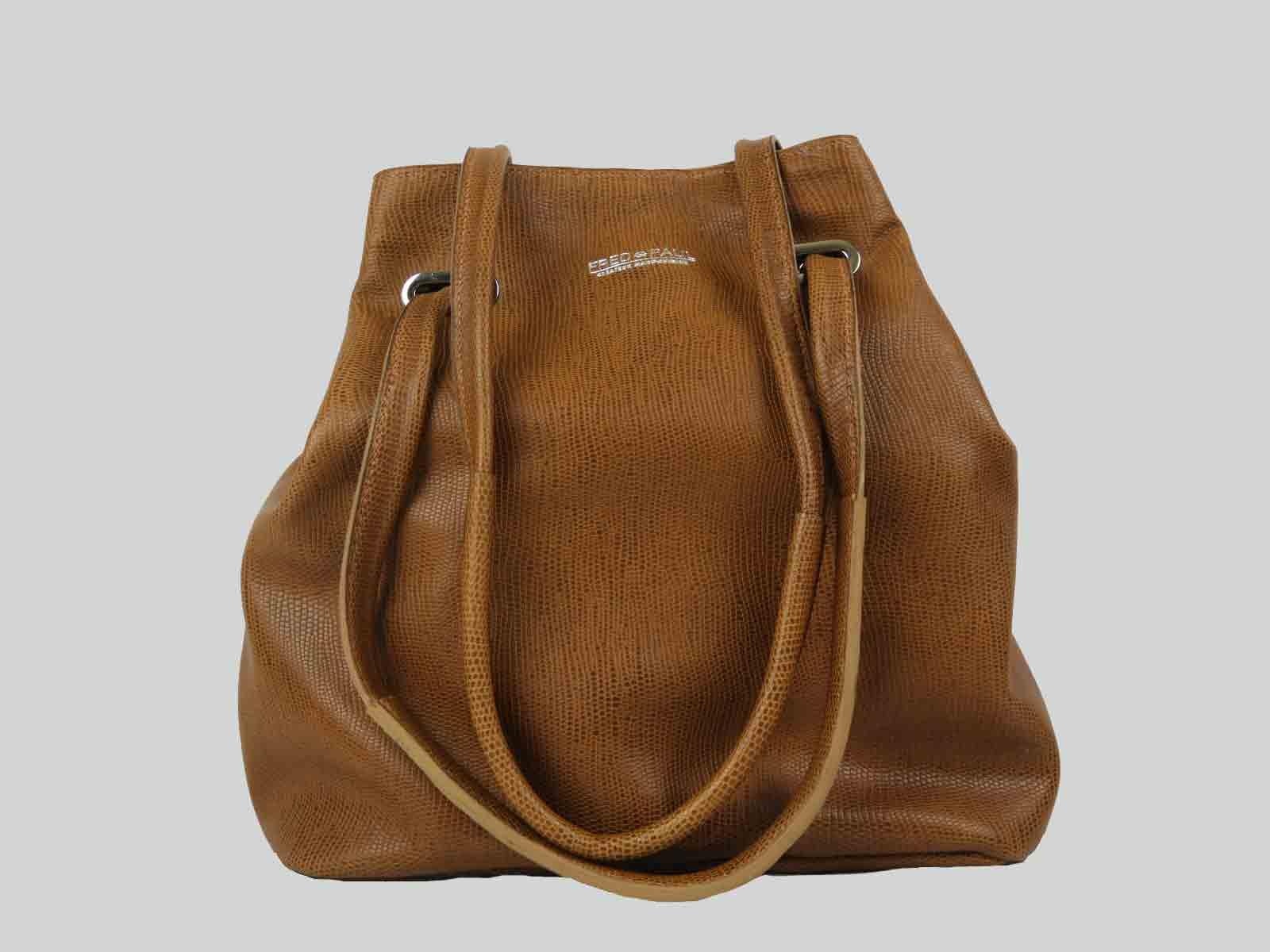 KORO sac porté épaule ou croisé en cuir de veau noisette façon lézard