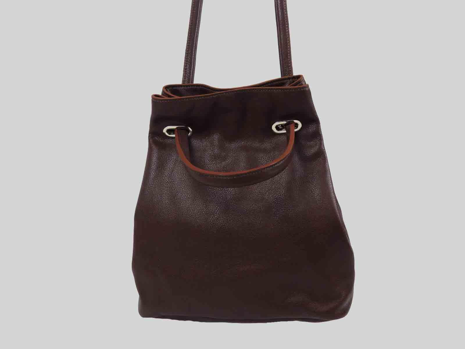 KORO sac porté épaule ou croisé en cuir de veau bordeaux
