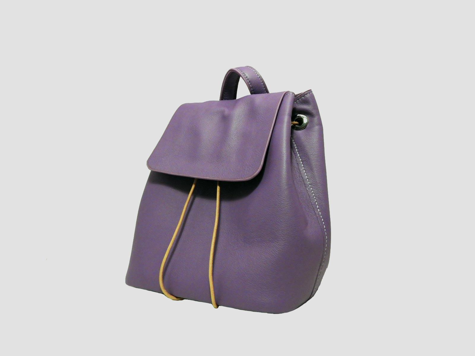 FUNDY sac à dos en cuir de veau violet