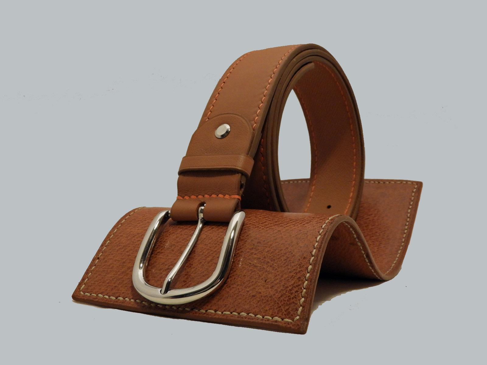 SHILLONG, ceinture réversible en cuir de veau lisse fauve et grainé fauve