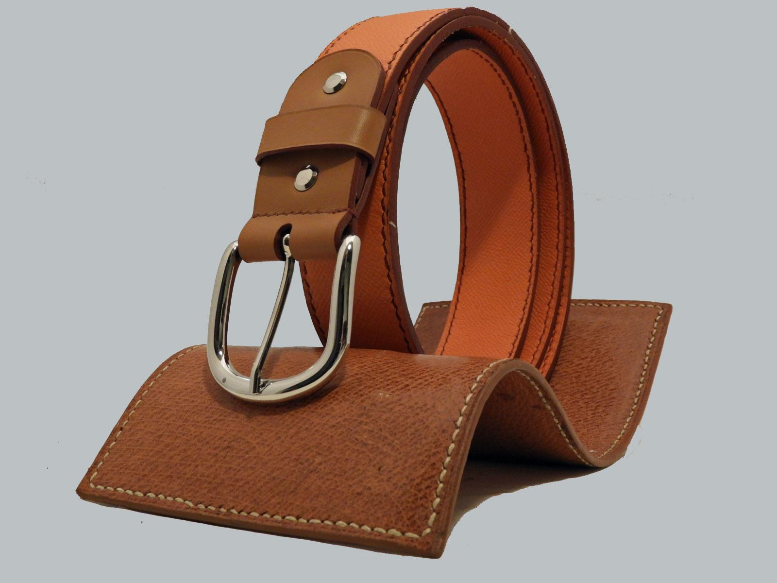 SHILLONG ceinture réversible en cuir de veau grainé mandarine