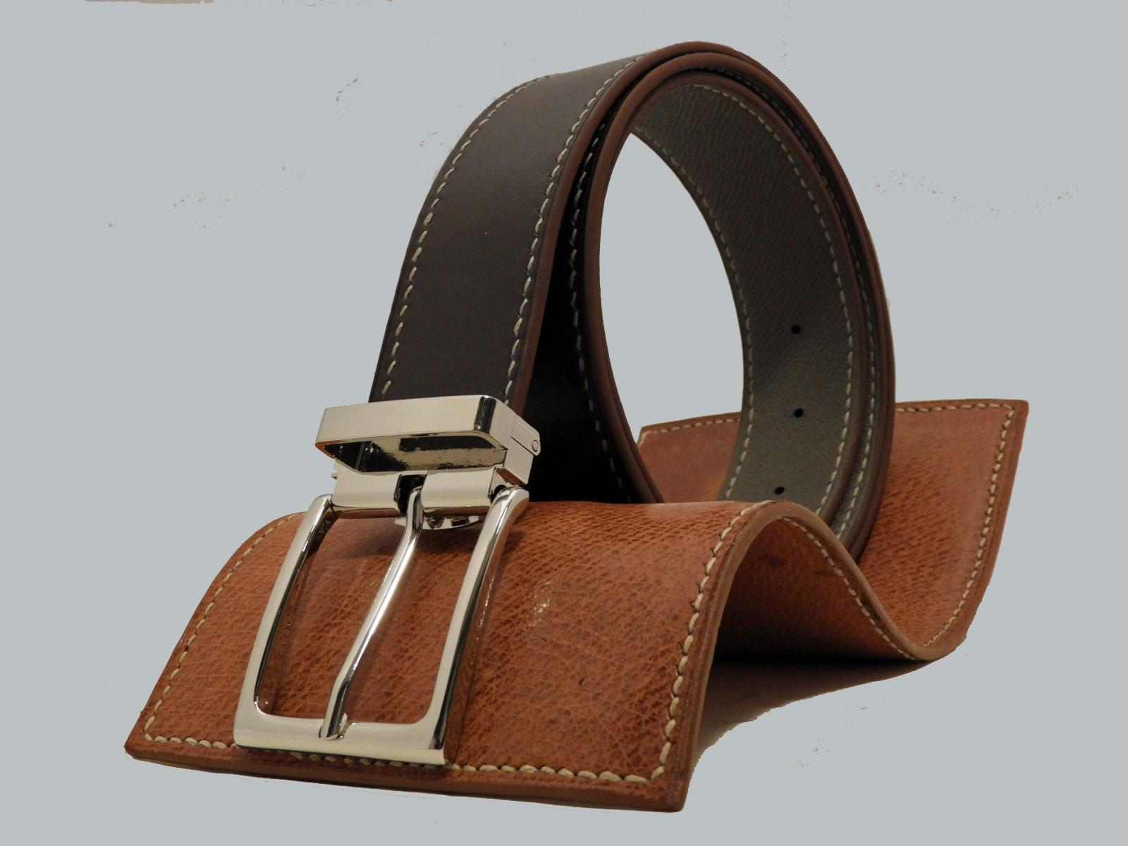 SHILLONG, ceinture réversible en cuir de veau lisse chataigne & grainé gris