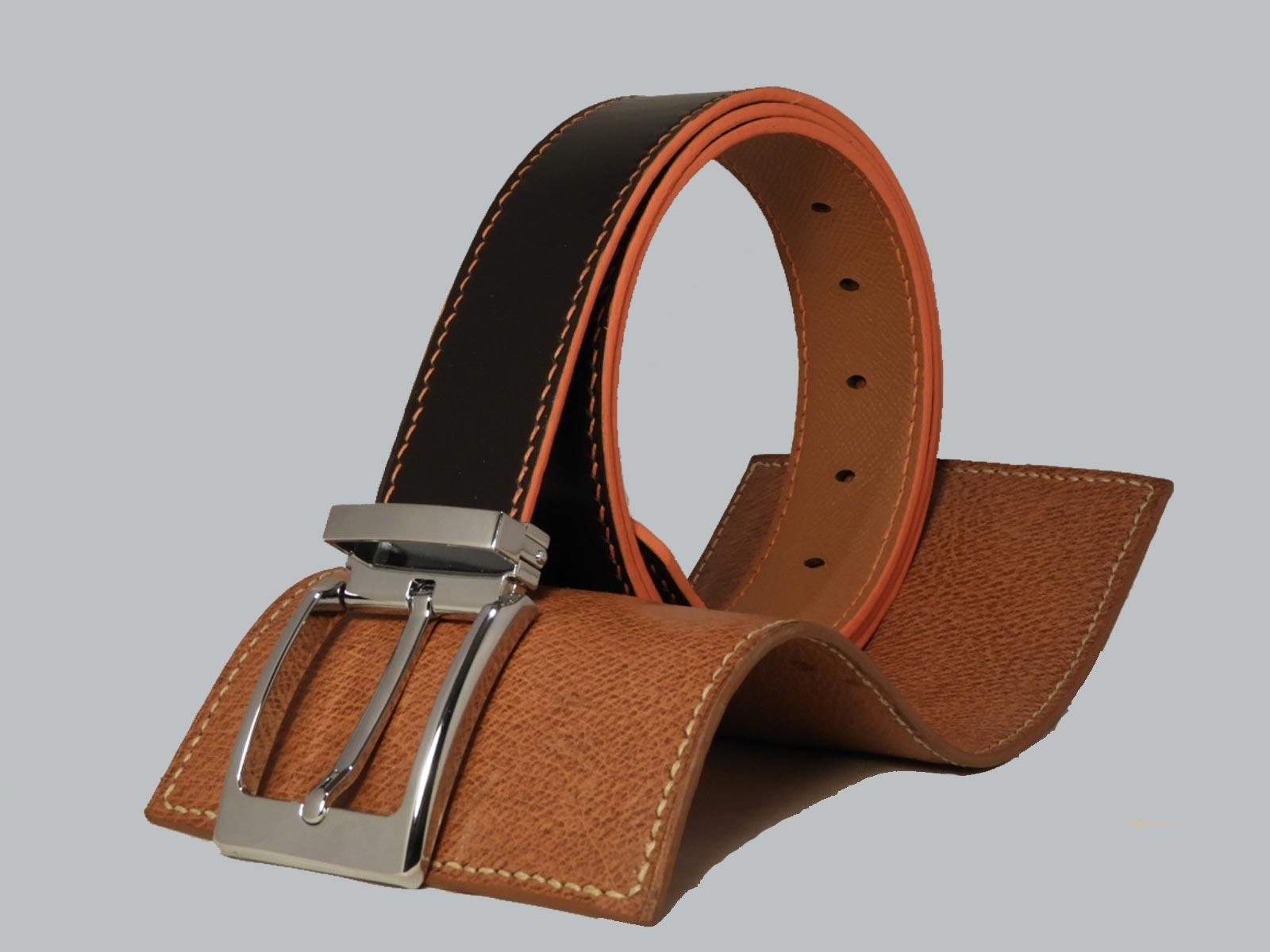 SHILLONG, ceinture réversible en cuir de veau lisse ébène et grainé fauve