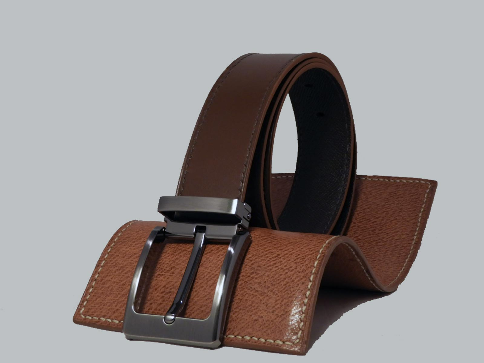 SHILLONG, ceinture réversible lisse marron & grainé chocolat