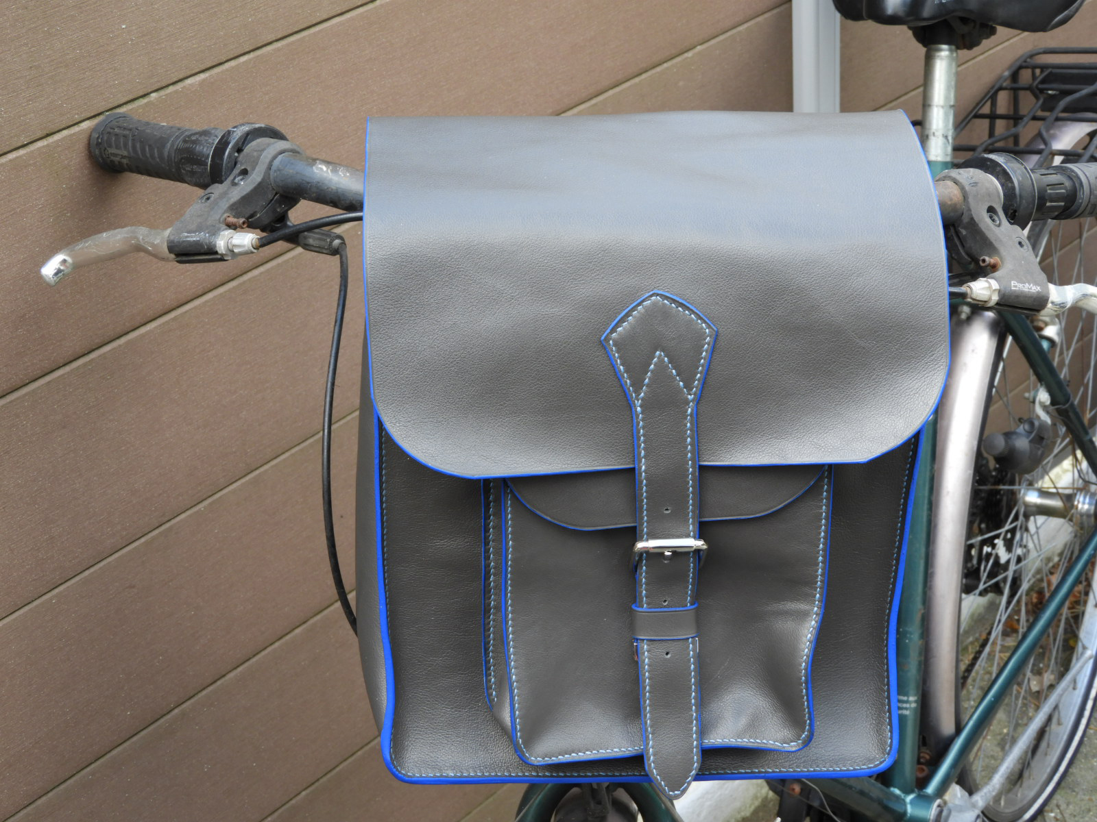 TOMINI sacoche guidon pour vélo en cuir de veau gris-taupe