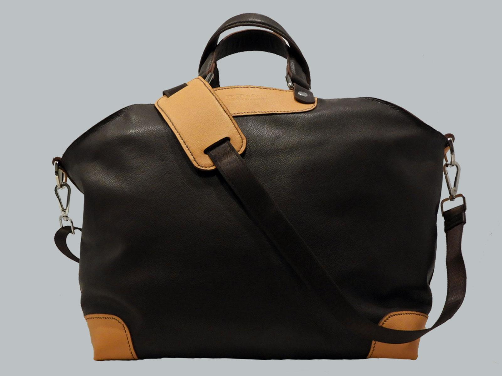 24H sac porté main ou épaule en cuir de veau chocolat