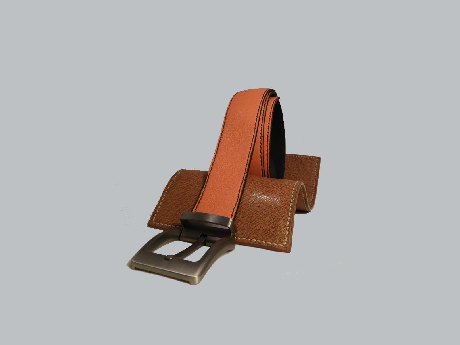 SHILLONG, ceinture réversible en cuir de veau lisse bleu et orange