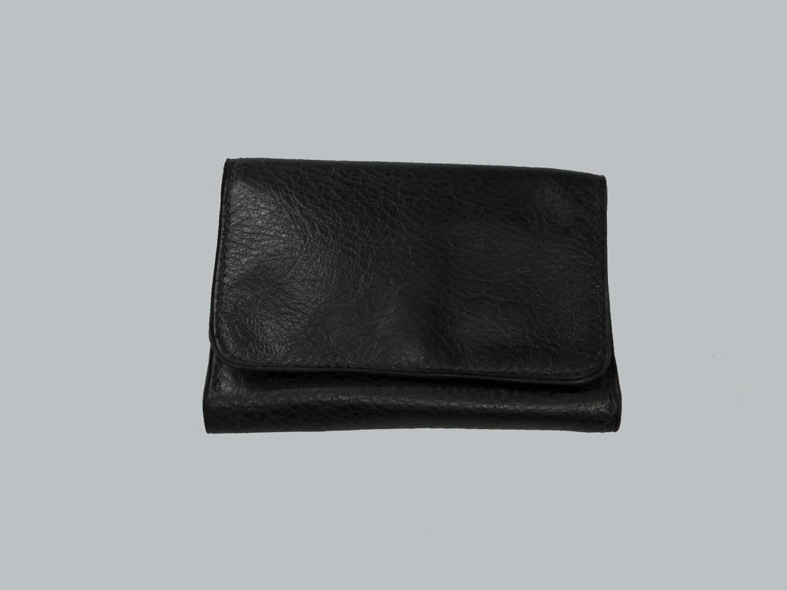 BRISTOL porte monnaie en cuir de veau noir