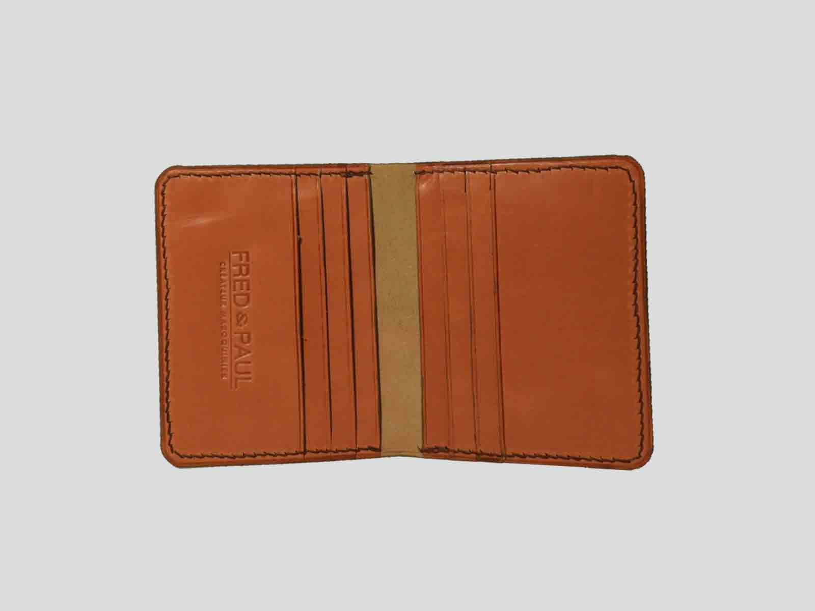 AUSTRAL porte cartes en cuir de veu orange