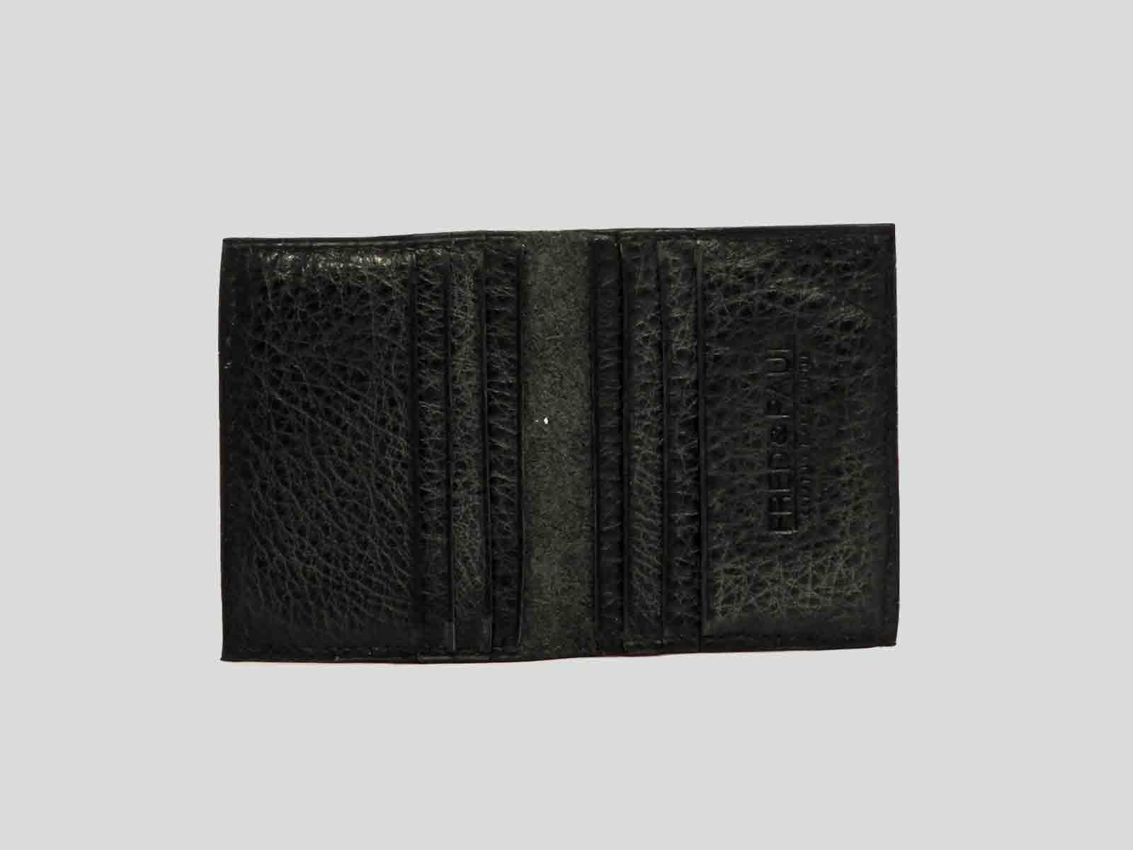 AUSTRAL porte cartes en cuir de veau noir