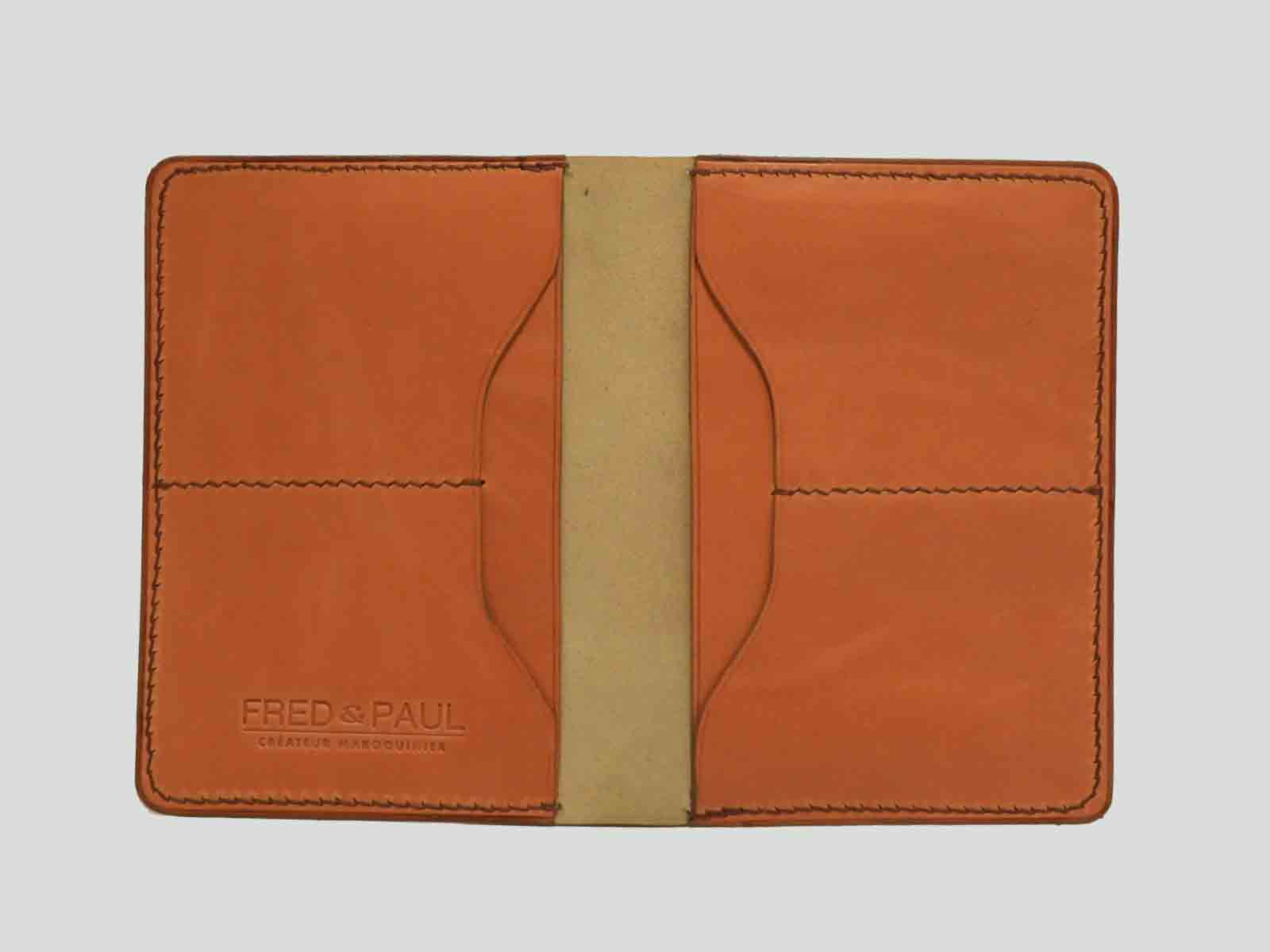 BALI, protège passeport en cuir de veau orange