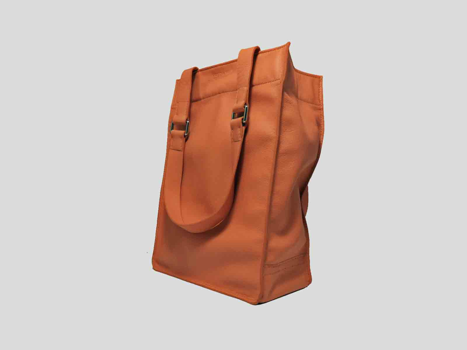 KAMET, tote bag en cuir de veau orange