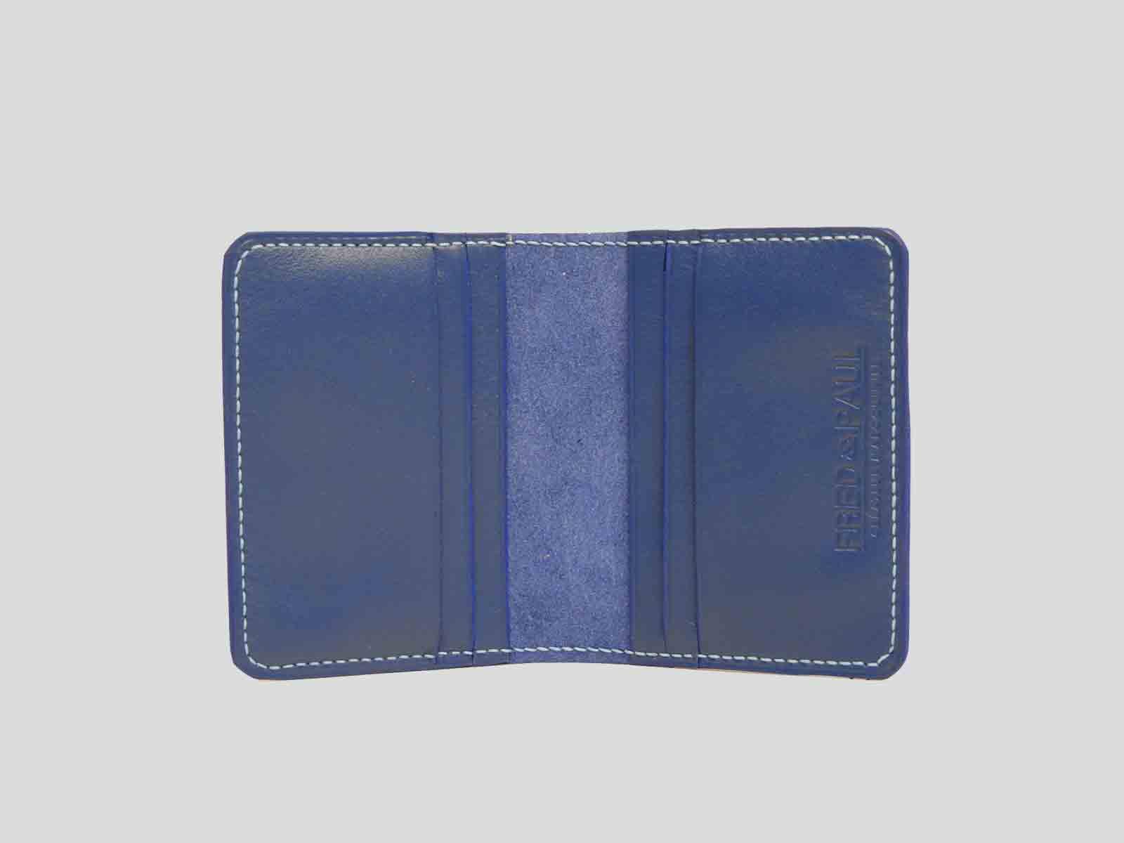 AUSTRAL, porte cartes  en cuir de veau bleu jean