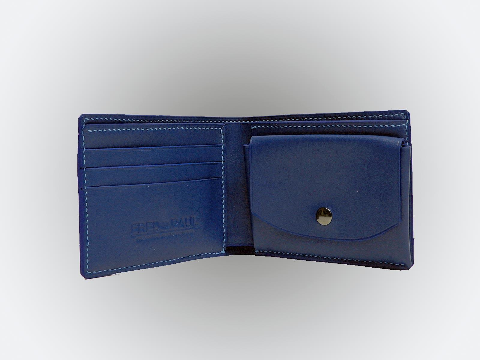 HONORIN, porte billets en cuir de veau bleu jean